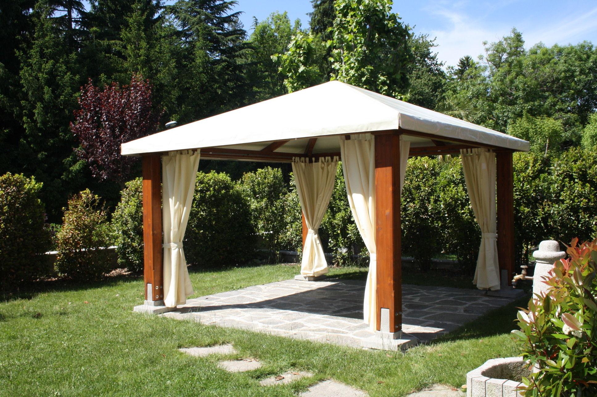 cenador de madera de techo de lona classic - Cenador De Madera