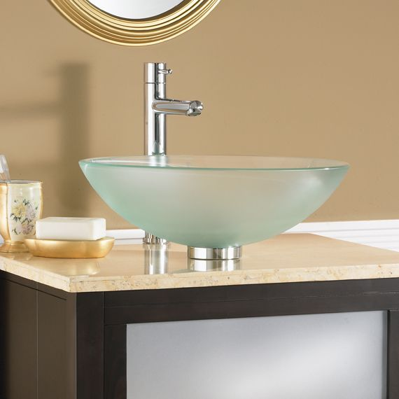 lavabo sobre encimera redondo de vidrio moderno dorian