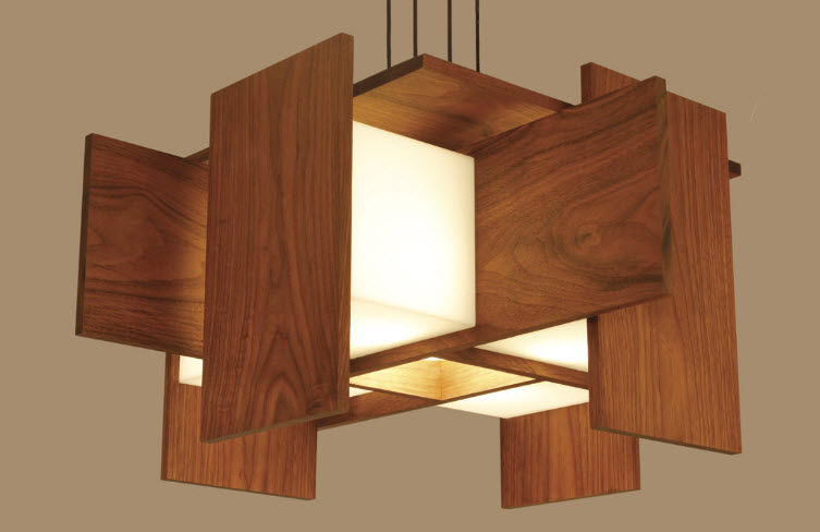 lmpara suspendida moderna de aluminio de madera muto by nick sheridan cerno - Lamparas De Madera