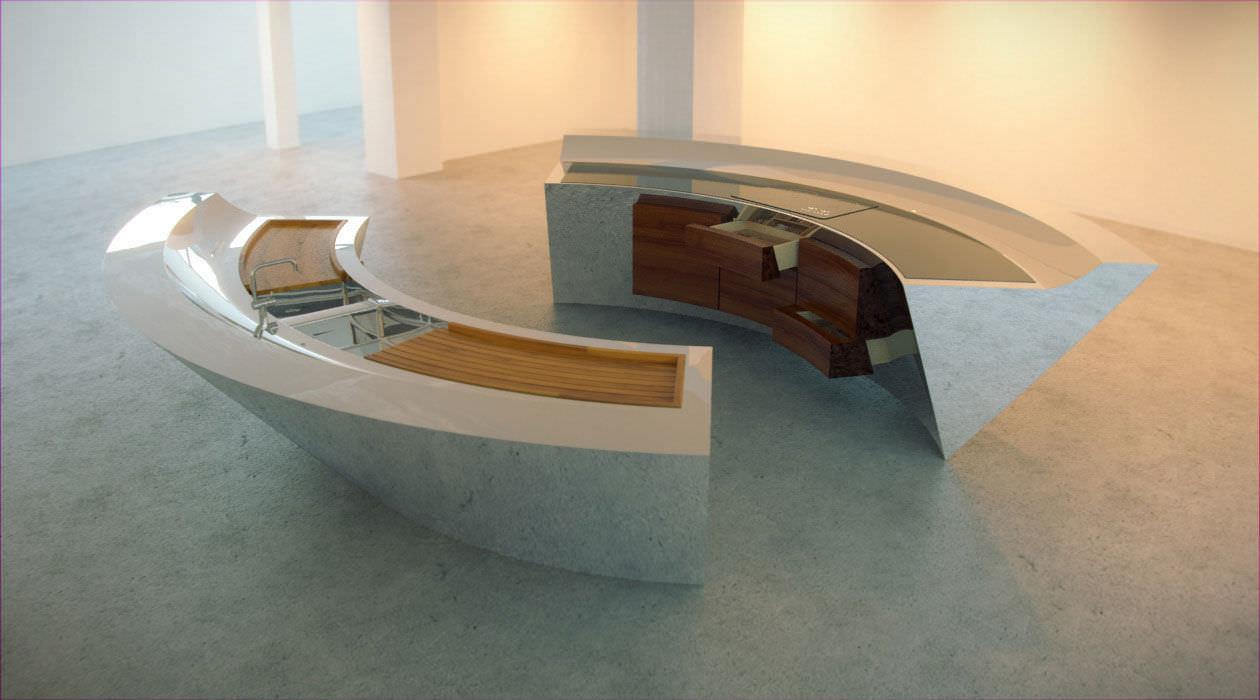 Cocina moderna / de vidrio / de madera / de acero inoxidable ...