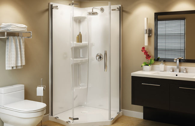 Cabina de ducha de fibra acrílica / pentagonal / con puerta abatible ...