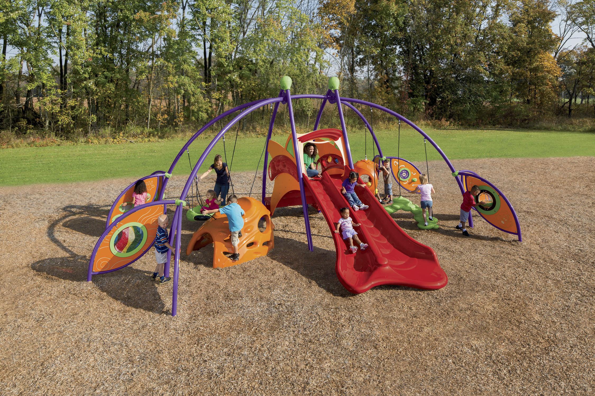 estacin de juego de plstico de acero para parque infantil para personas con movilidad reducida activo bambino playville