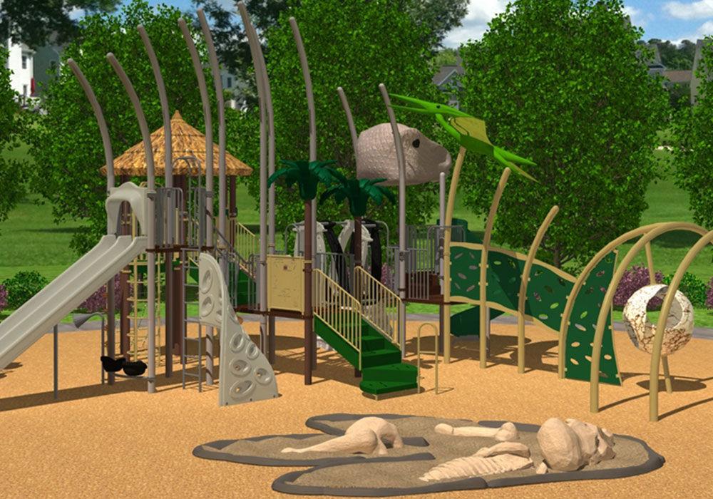 estacin de juego de plstico para parque infantil dinosaur