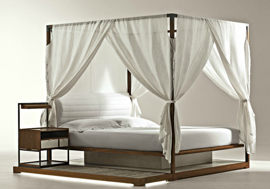 cama con dosel doble moderna de nogal ira by chi wing lo