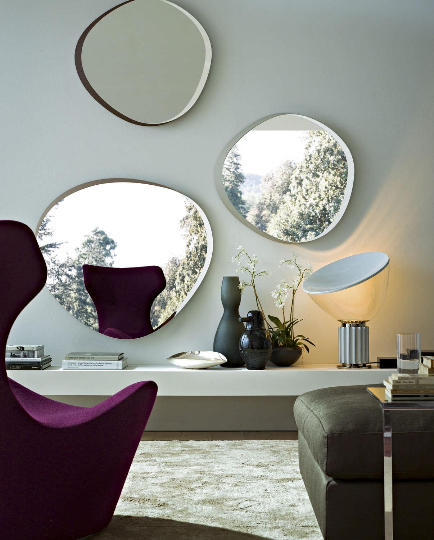 espejo de pared moderno para saln de madera zeiss