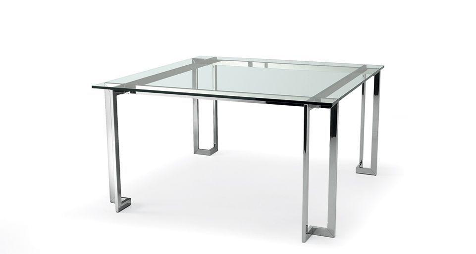 Mesa de reuniones moderna / de vidrio / de acero inoxidable ...