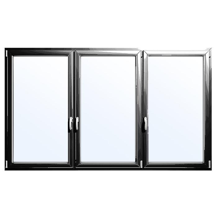 Ventana oscilobatiente / de aluminio / con vidrio doble / de corte ...
