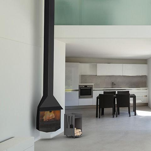 chimenea de lea moderna hogar cerrado de esquina cadaques by leopoldo mil with chimeneas de esquina modernas - Chimeneas De Lea Modernas