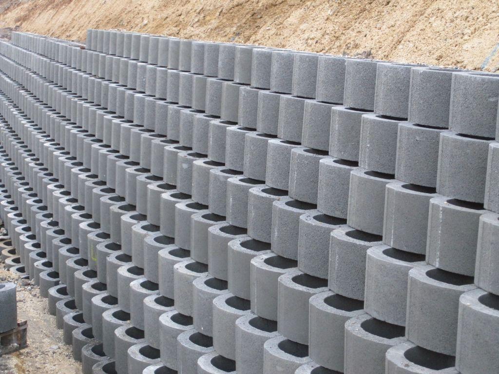 bloque de hormign hueco para muro de contencin superficial lockstone