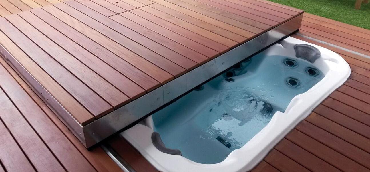 Cubierta para piscina terraza móvil automático / de seguridad ...