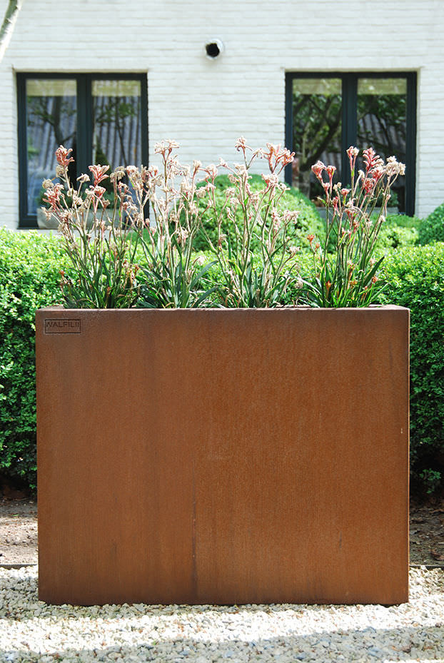 jardinera de acero corten rectangular moderna mar walfilii