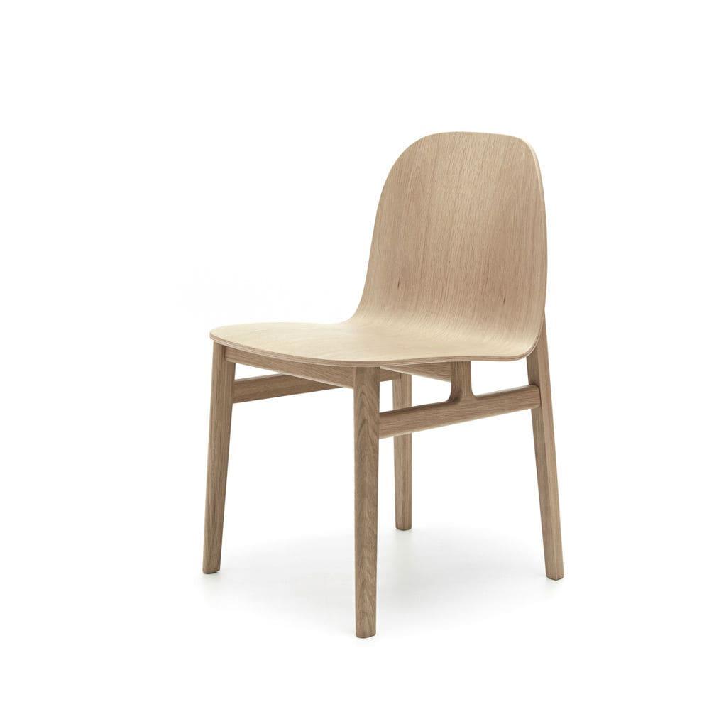 Silla de comedor de diseño escandinavo / tapizada / de roble / para ...