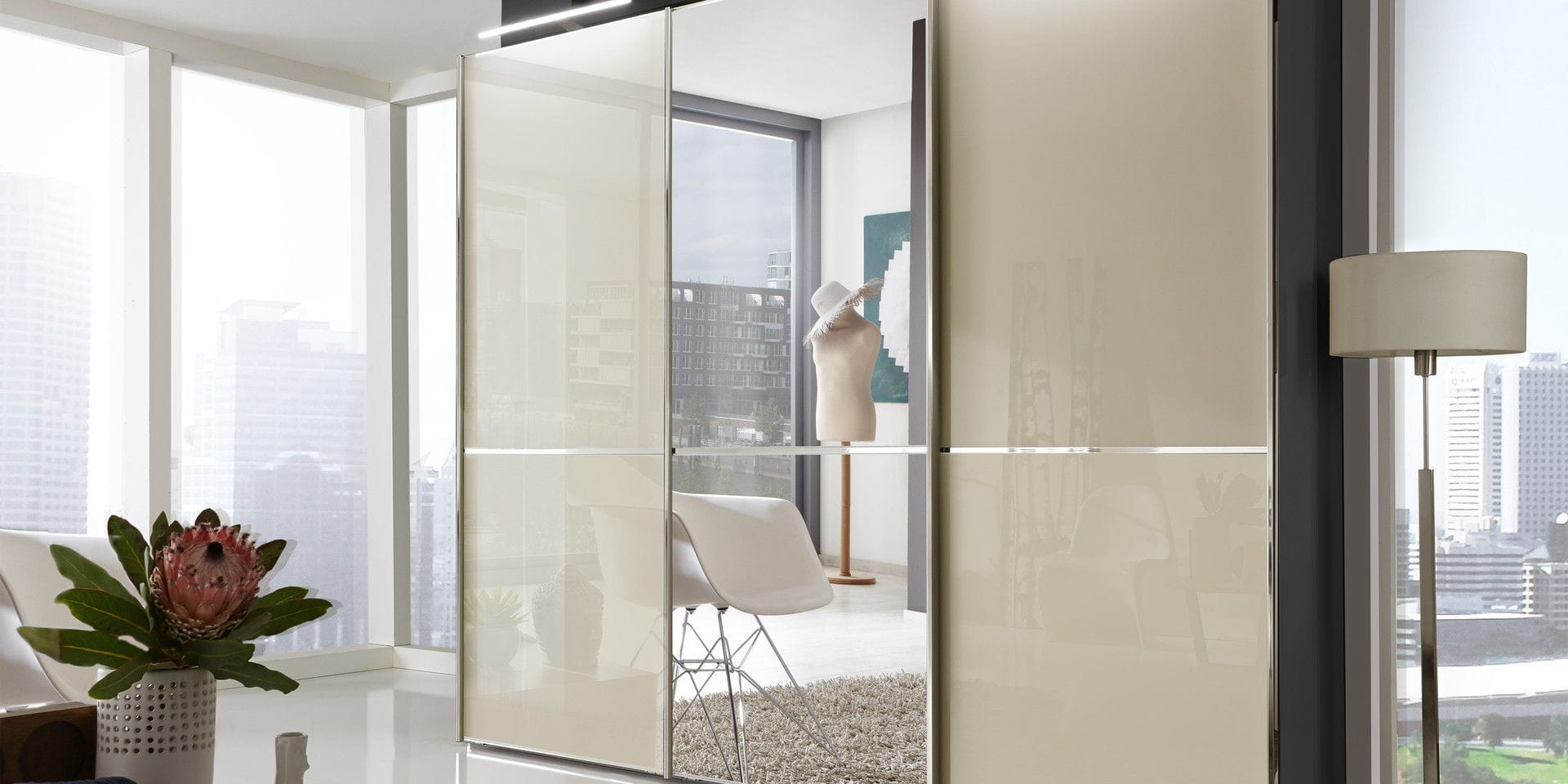 armario en esquina moderno de madera con puertas corredizas shanghai wiemann