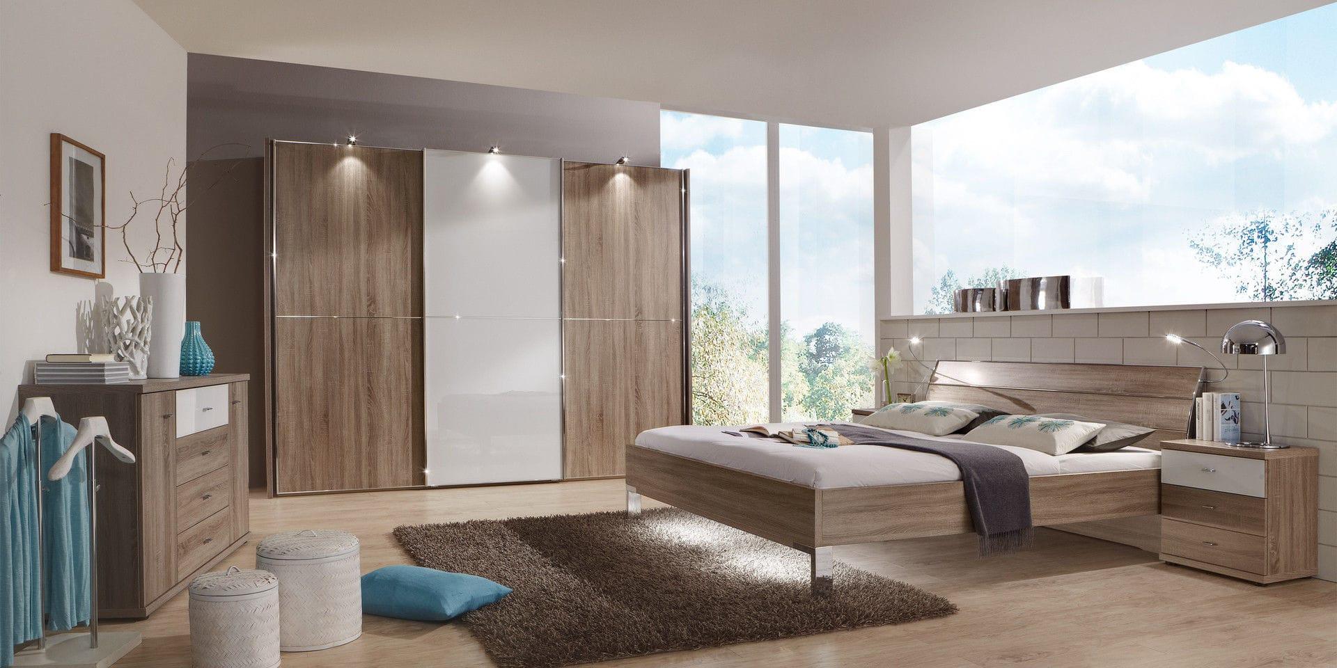 armario moderno de madera de vidrio con puertas corredizas miami wiemann