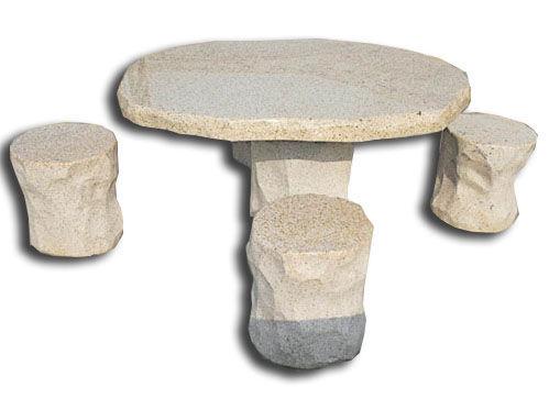 mesa clsica de piedra redonda para jardn yellow akrolithos sa