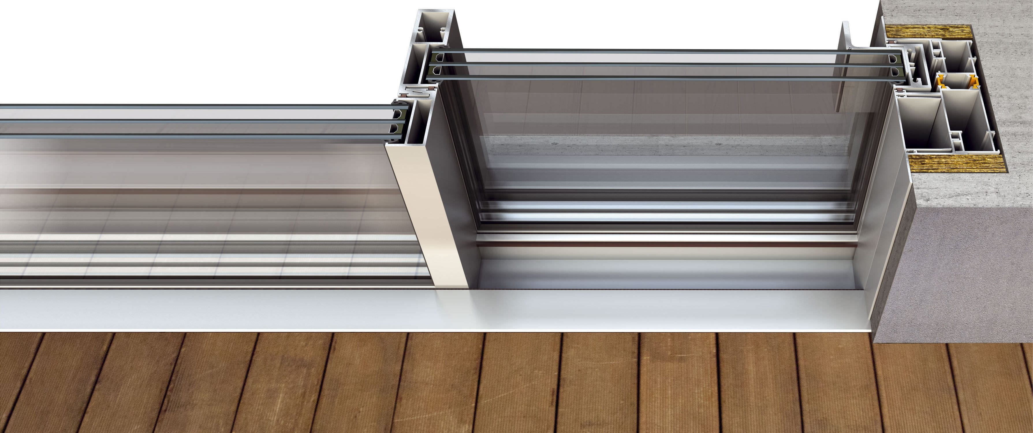 Ventanal corredero / de aluminio / con vidrio triple - FLUO - Aldena