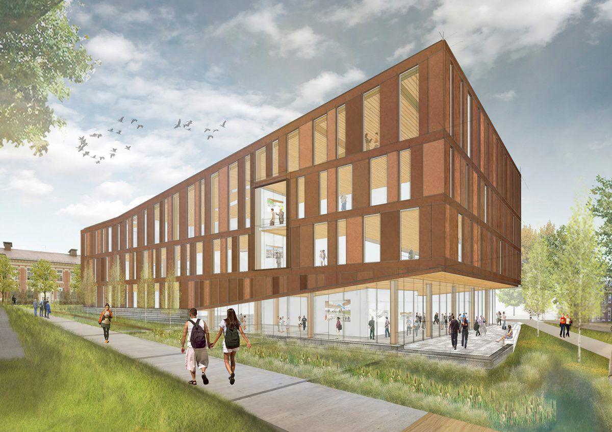 Edificio prefabricado / para edificio público / de madera / de ...