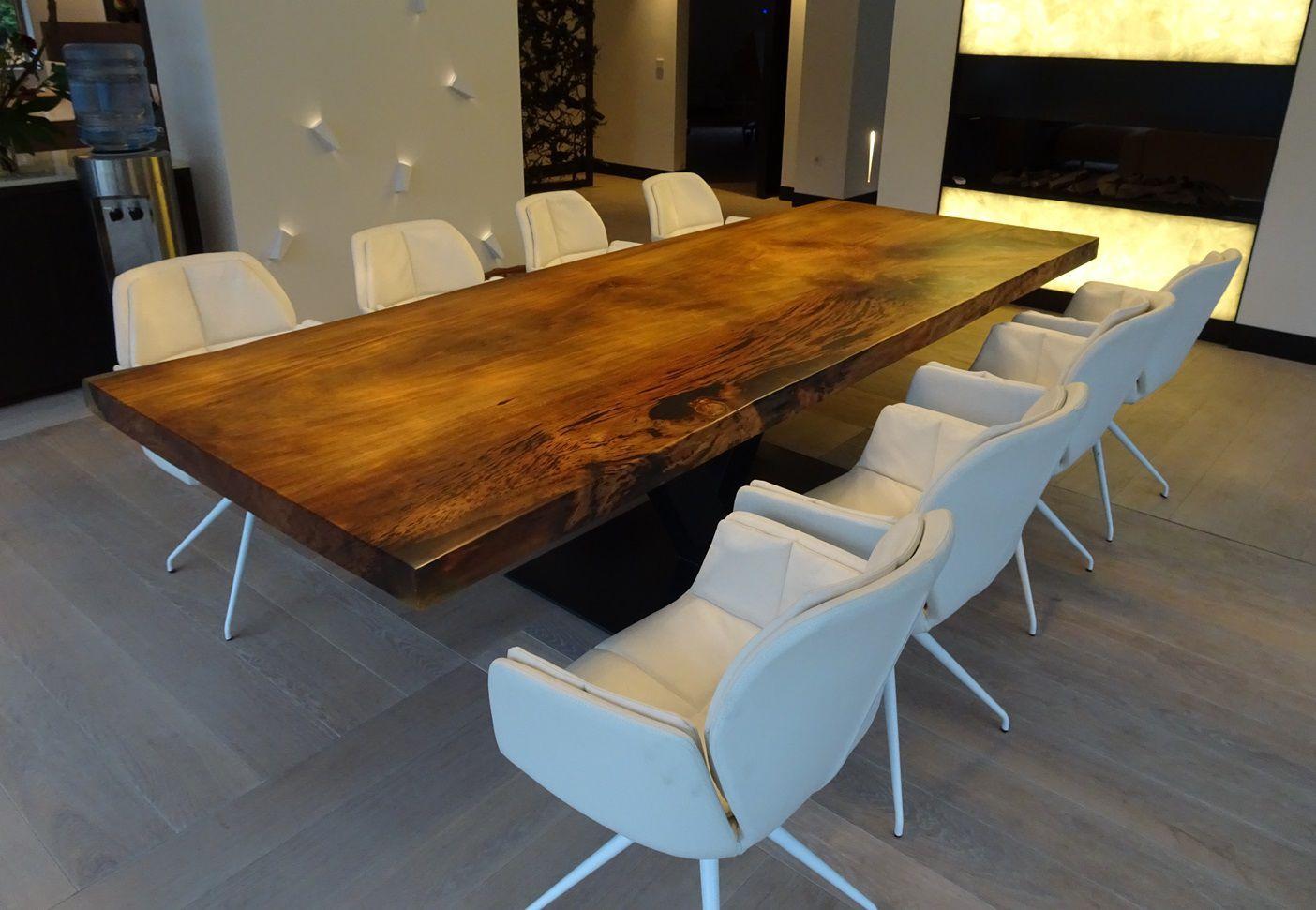 Mesa de comedor moderna / de madera maciza / de acero / de acero ...