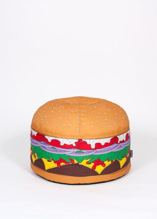 puf de diseo original de tela con funda extrable redondo burger