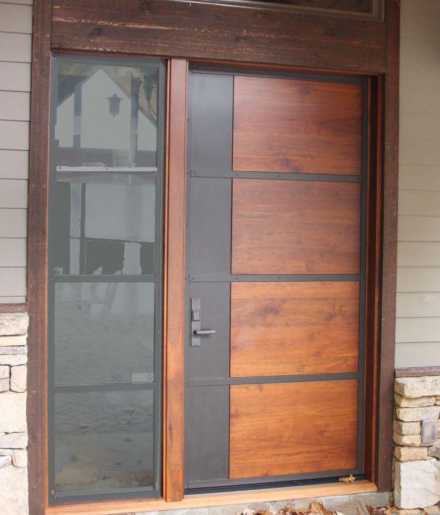 puerta de entrada abatible de madera de metal hillus style