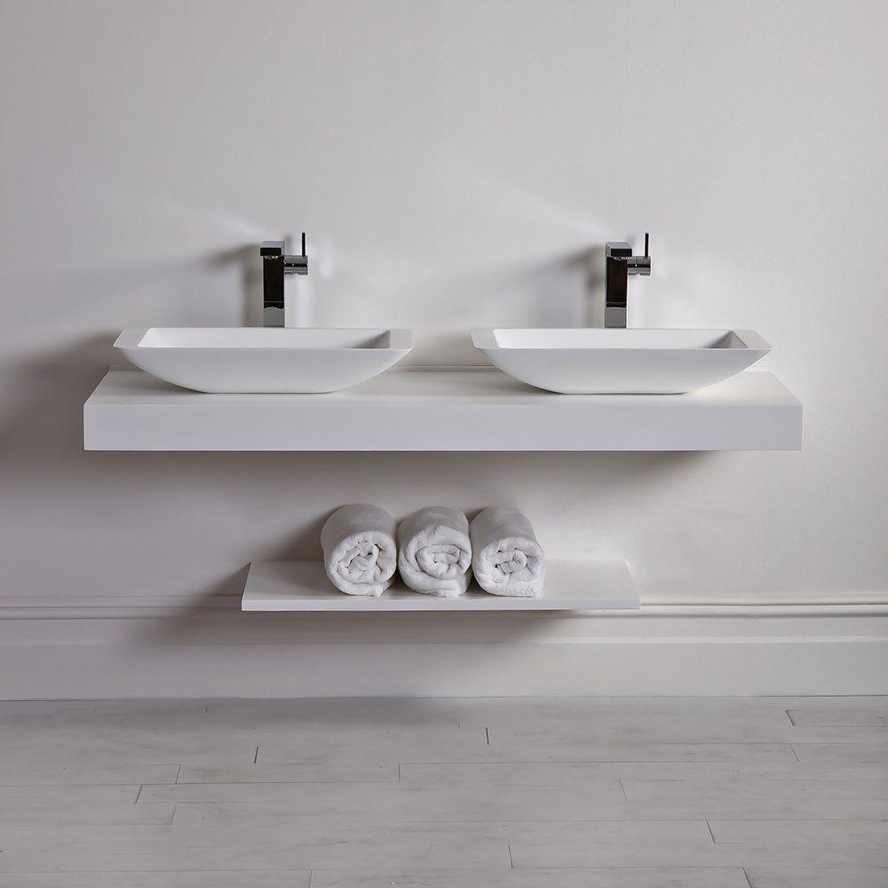 encimera de lavabo doble de piedra de resina