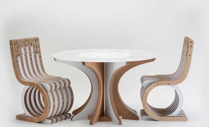 Mesa de comedor de diseño original / de cartón / redonda / blanca ...
