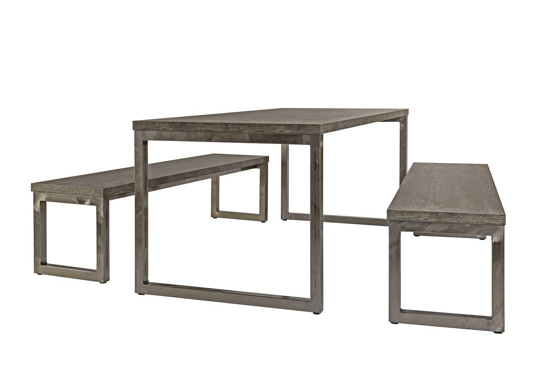 5b7e0292a8bd ... conjunto de mesa y banco rústico / de acero / de madera / de interior