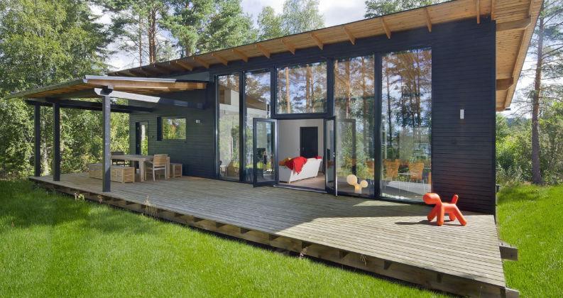 Casa Prefabricada Moderna Con Armazon De Madera De Vidrio