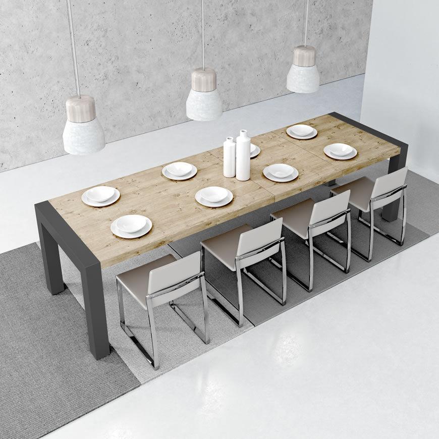 Mesa de comedor moderna / de metal / de madera tintada / de melamina ...