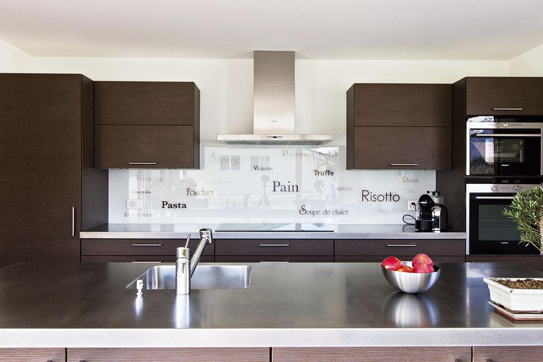Panel decorativo de vidrio / para cocina / liso / personalizado ...