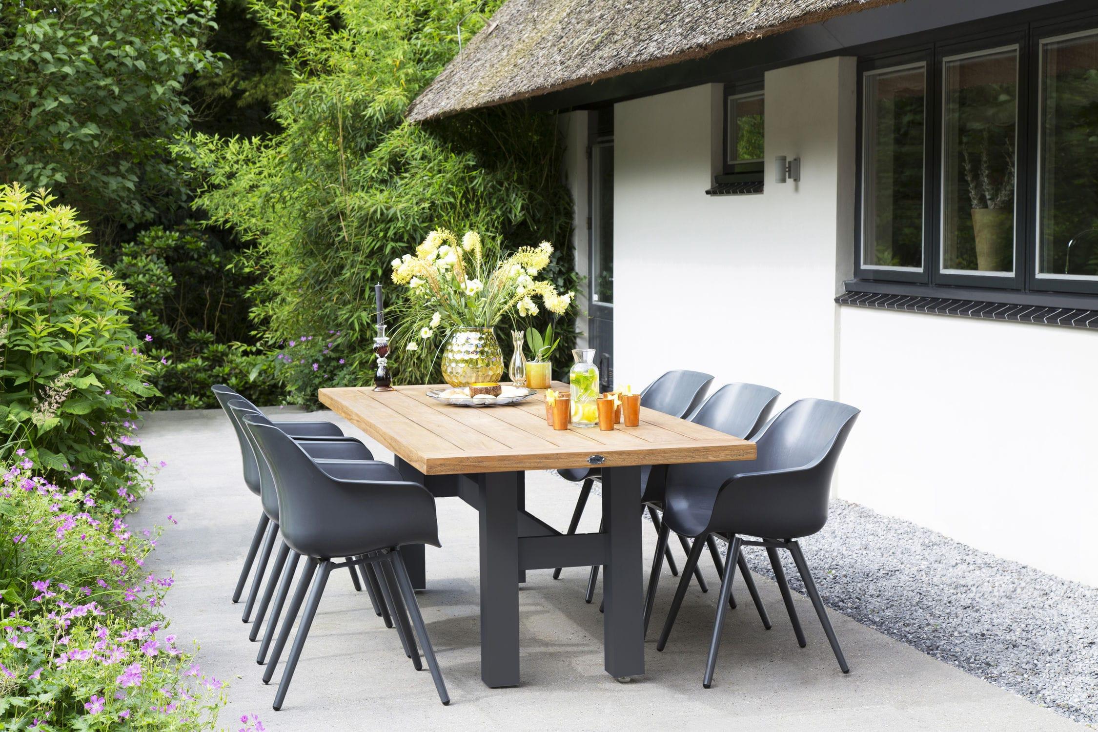 Conjunto de mesa y silla moderno de aluminio de resina de