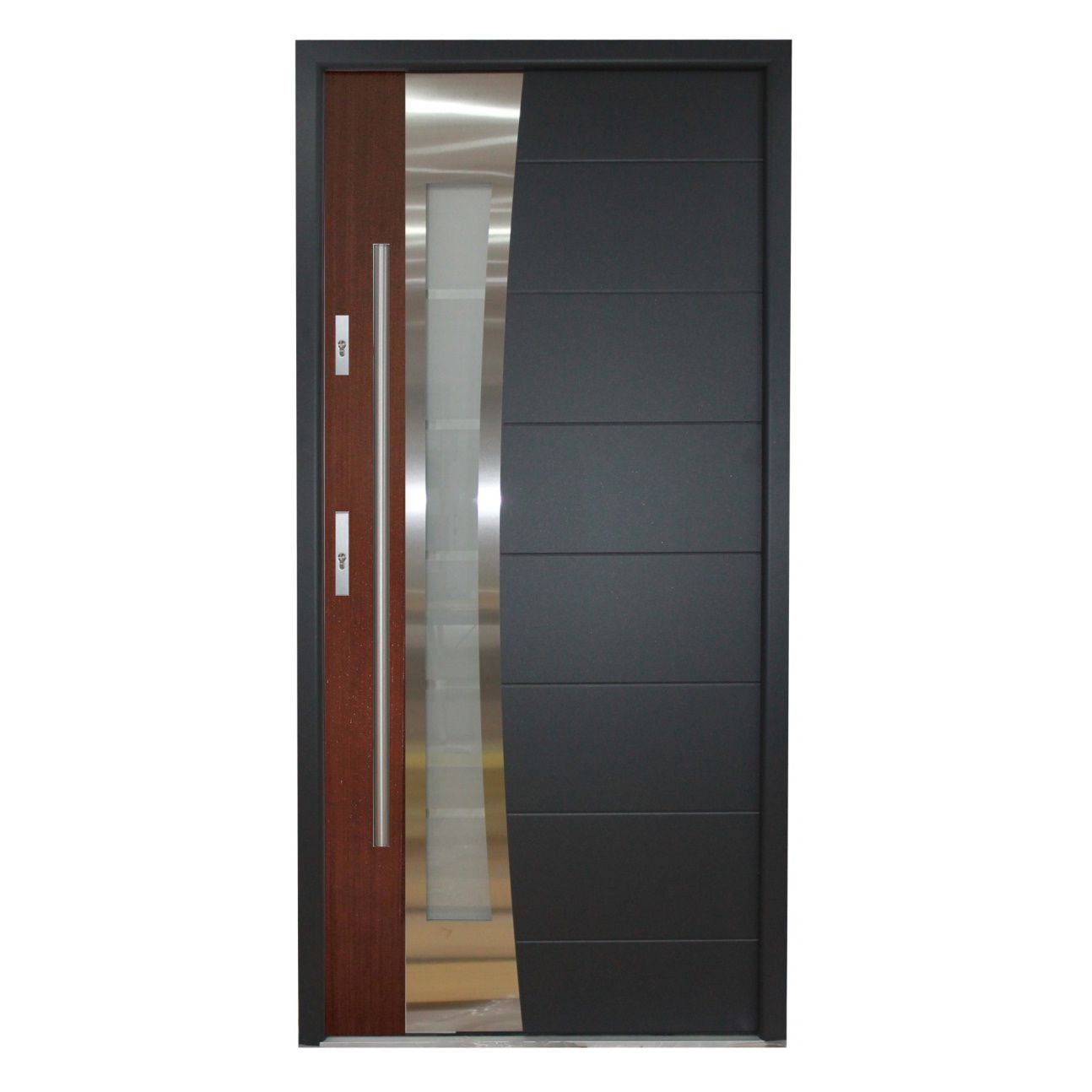 Puerta de entrada / abatible / de chapa de madera / de acero ...