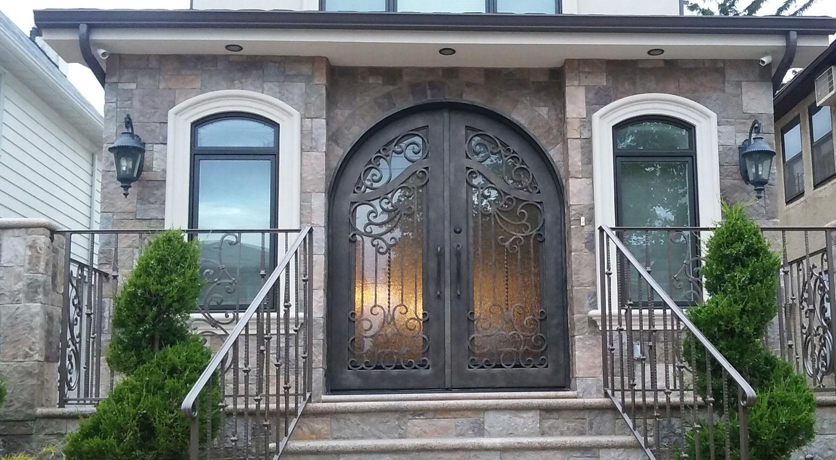 puerta de arco de entrada abatible de hierro forjado wr ville doors