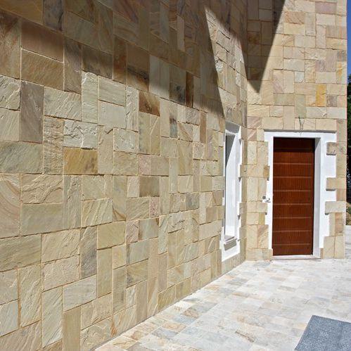 revestimiento de pared de piedra natural para uso residencial texturado para exterior mint - Revestimiento Exterior