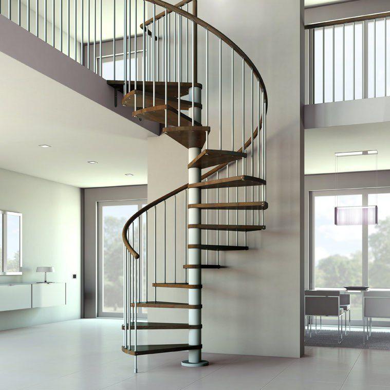 Escalera de caracol / con peldaños de madera / estructura de metal ...