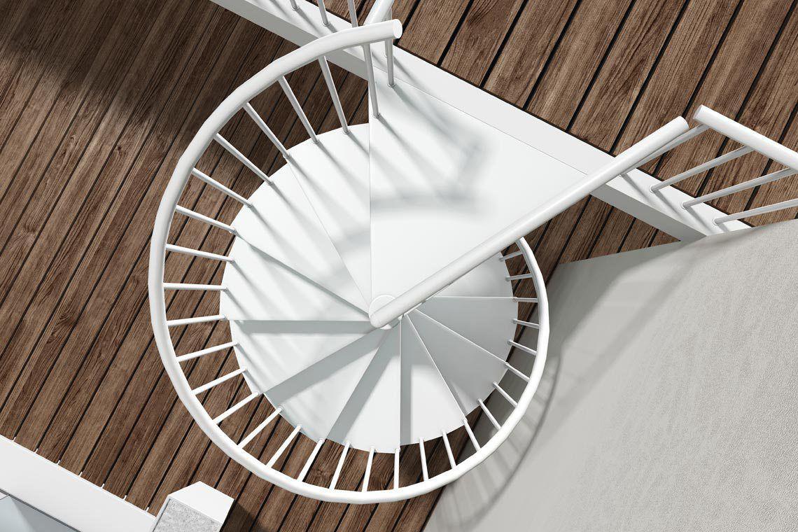Escalera de caracol / estructura de metal / con peldaños de metal ...