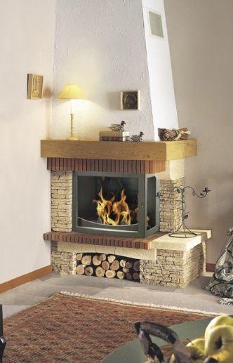 chimenea de lea tradicional hogar cerrado de esquina rocaille g