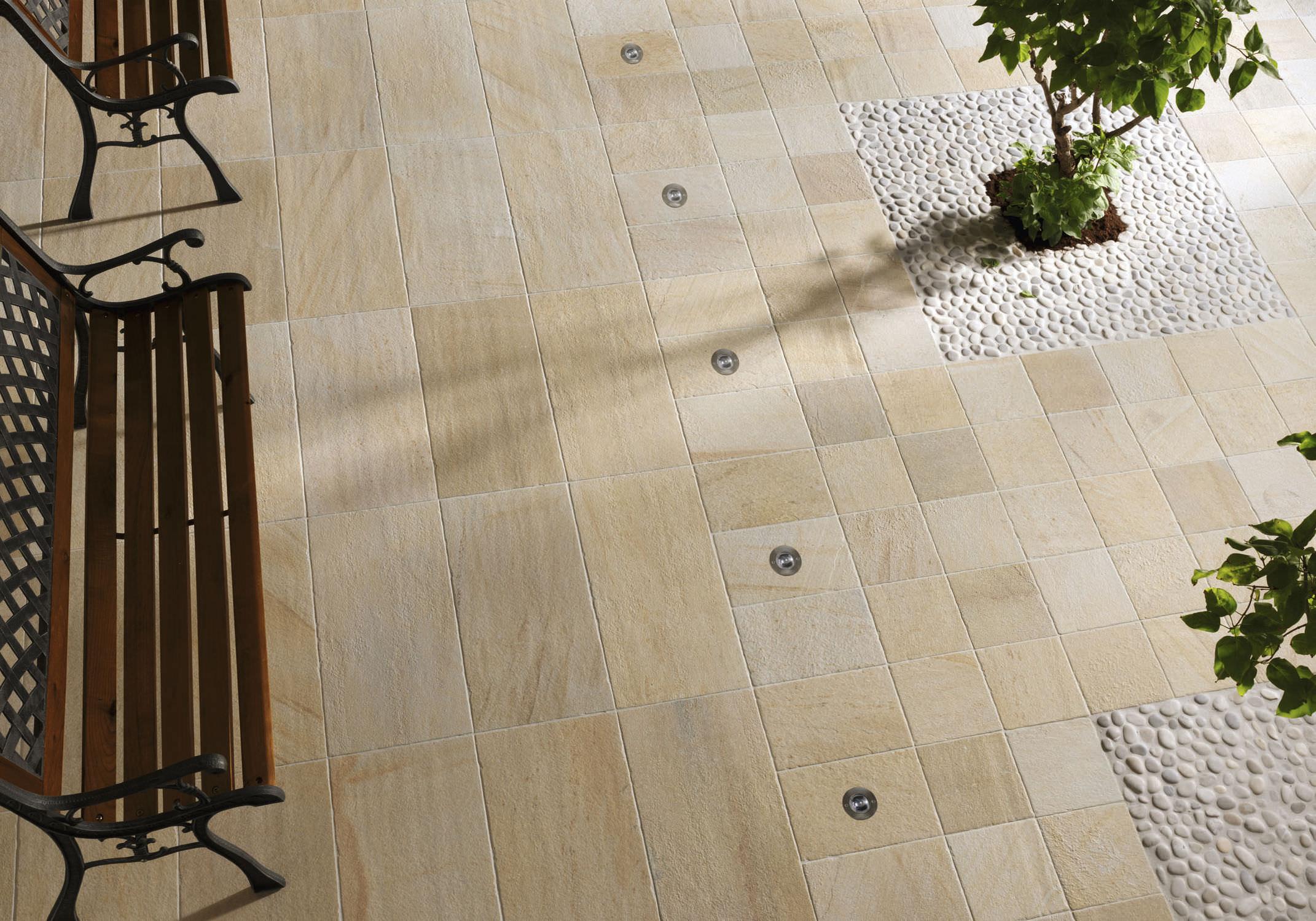 baldosa de exterior para pavimento de gres porcelnico de color liso bioarch barge gialla