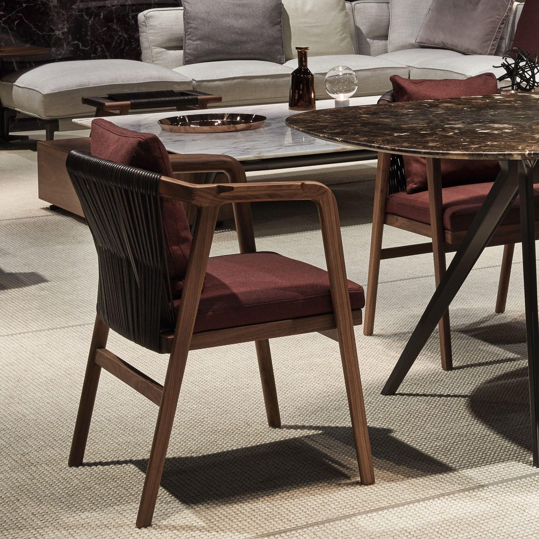 Silla de comedor moderna / tapizada / con reposabrazos / de madera ...