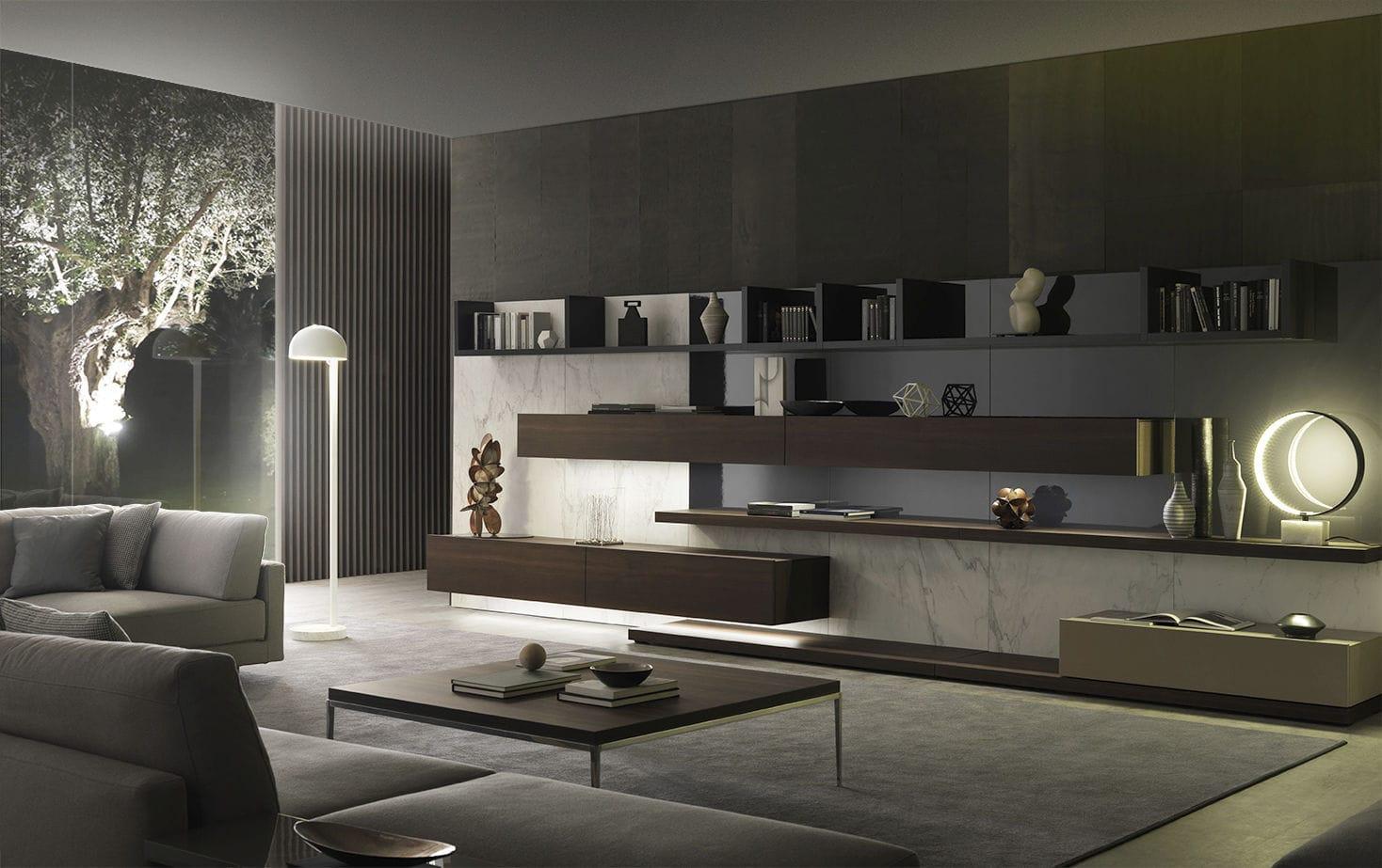 Mueble de salón moderno / de madera lacada / de Mauro Lipparini ...