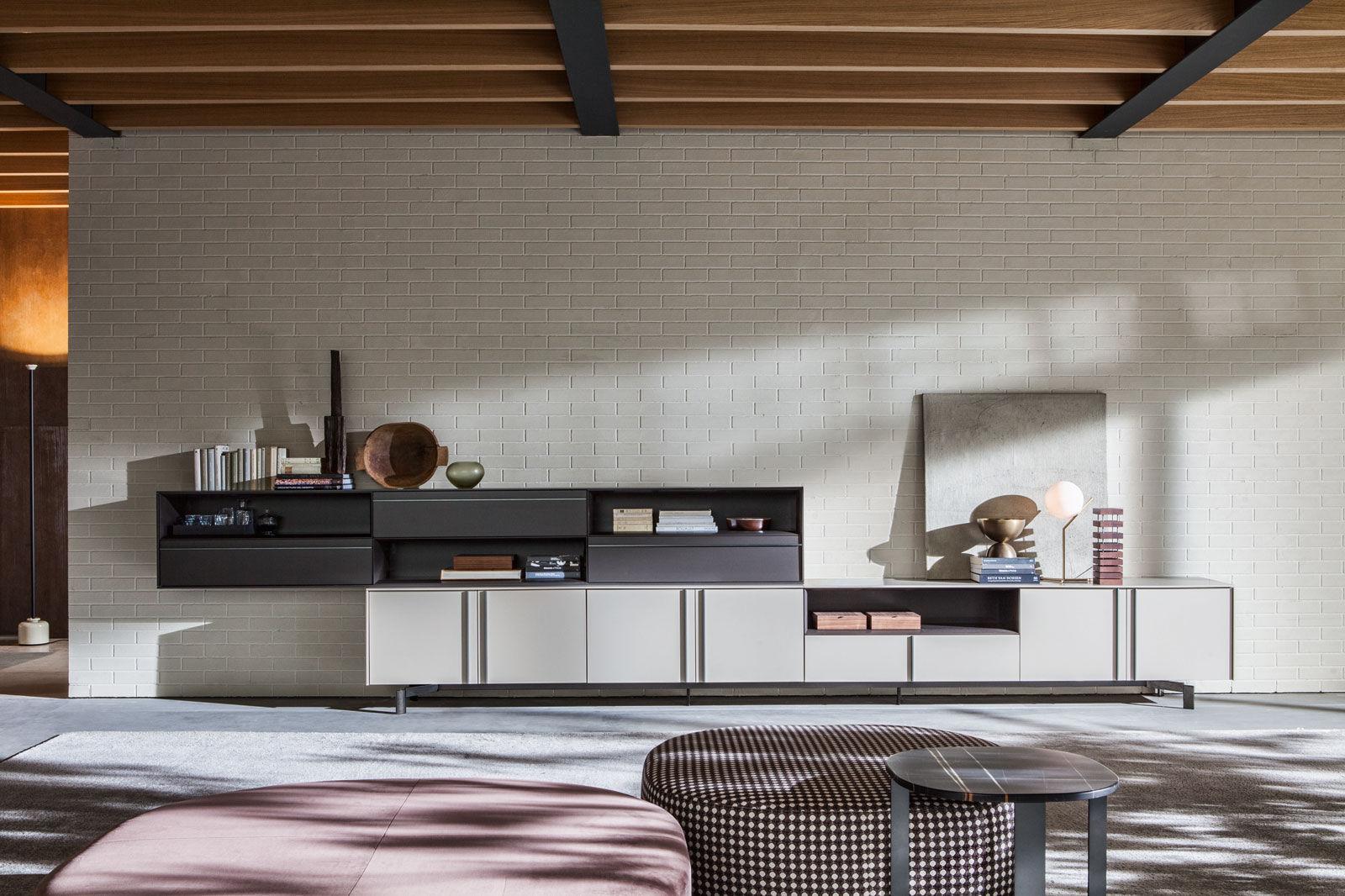 Mueble De Sal N Moderno De Madera De Vidrio De Aluminio  # Muebles Suspendidos Salon