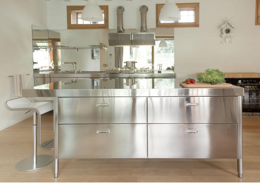 Cocina moderna / de acero inoxidable / con isla - 190-220 WITH SNACK ...
