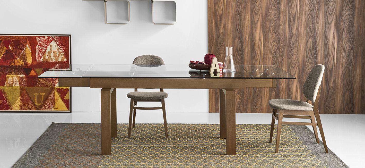 Mesa de comedor moderna / de madera maciza / de vidrio templado ...