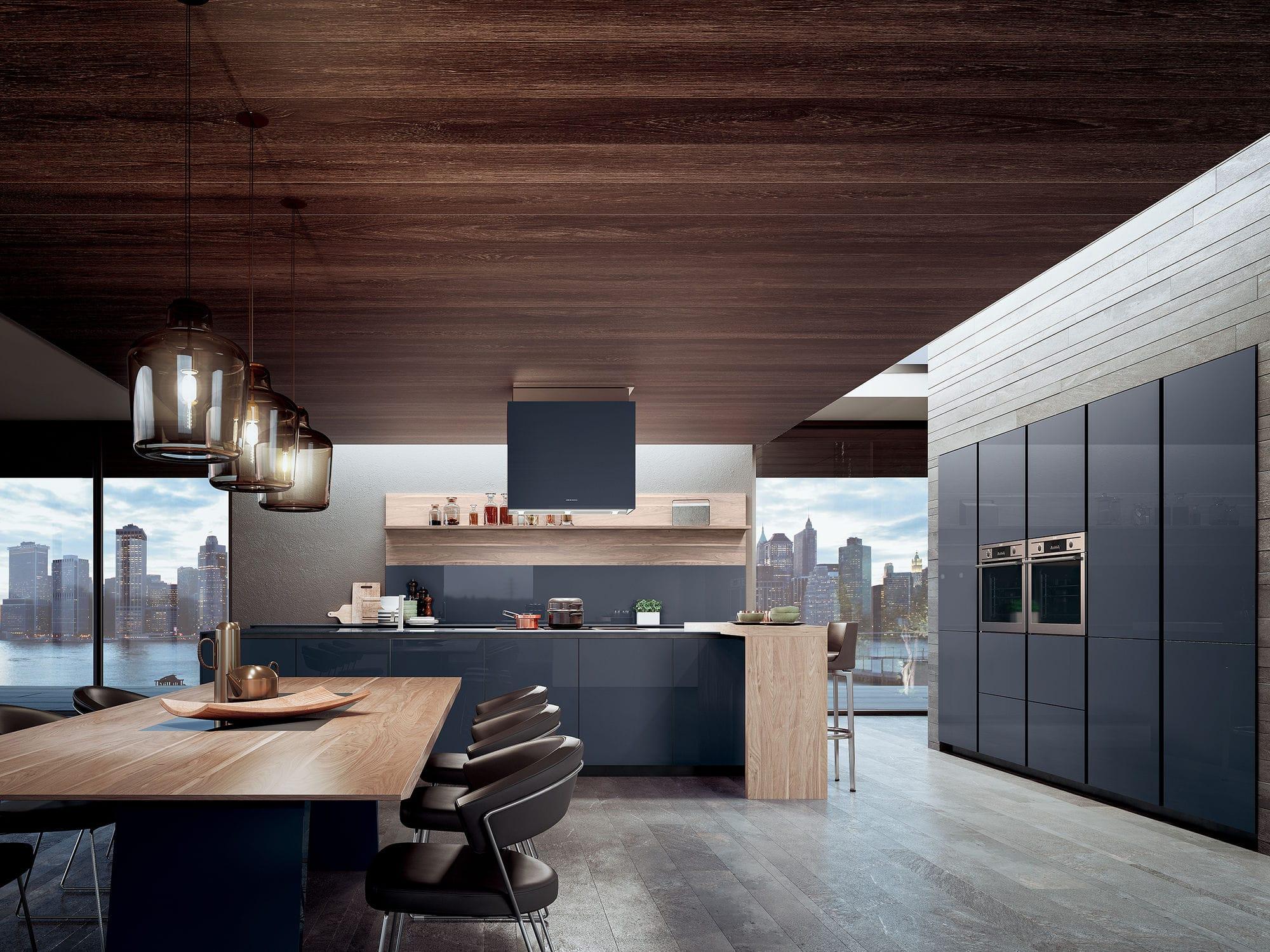 Cocina moderna / de roble / de nogal / de vidrio - VELVET PROFILE C ...