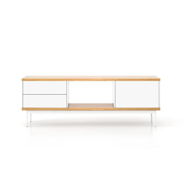 Mueble de televisión moderno / de roble / de MDF / de acero - SLATS ...