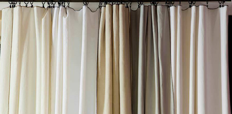 cortina de color liso con presillas de lino nomade porquerolles toiles de mayenne - Cortinas Lino