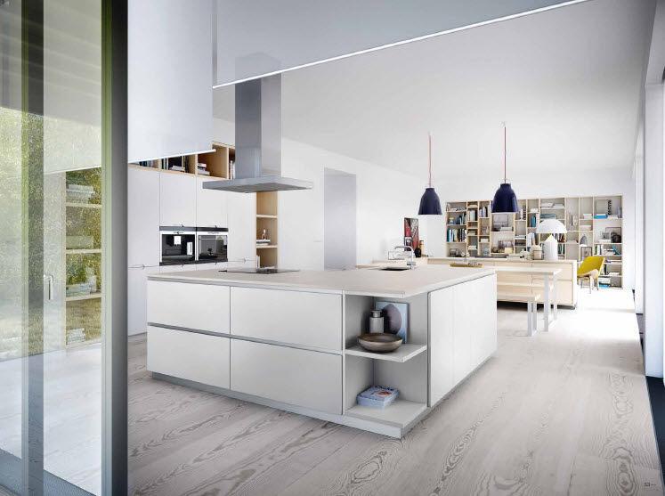 cocina moderna de madera con isla lacada l collection