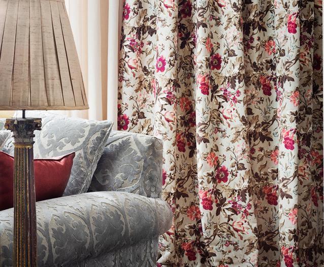 Tela para cortinas / de flores / de lino   LOIRE : CHENONCEAU
