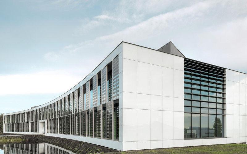 panel de construccin de vidrio para fachada sunewat agc glass europe