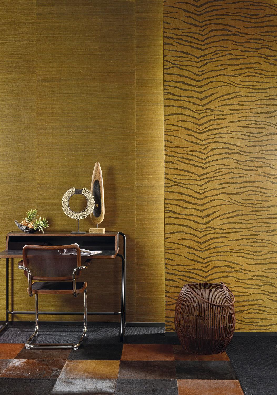 a11713f9b ... papel pintado moderno / de fibras naturales / con motivos de la  naturaleza / negro ...